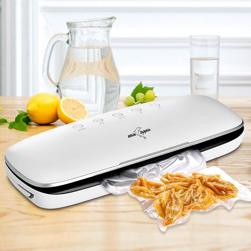 Dauphin blanc meilleure nourriture sous vide scellant Machine 220V 110V avec 10 pièces emballage alimentaire sacs ménage électrique sous vide alimentaire scellant