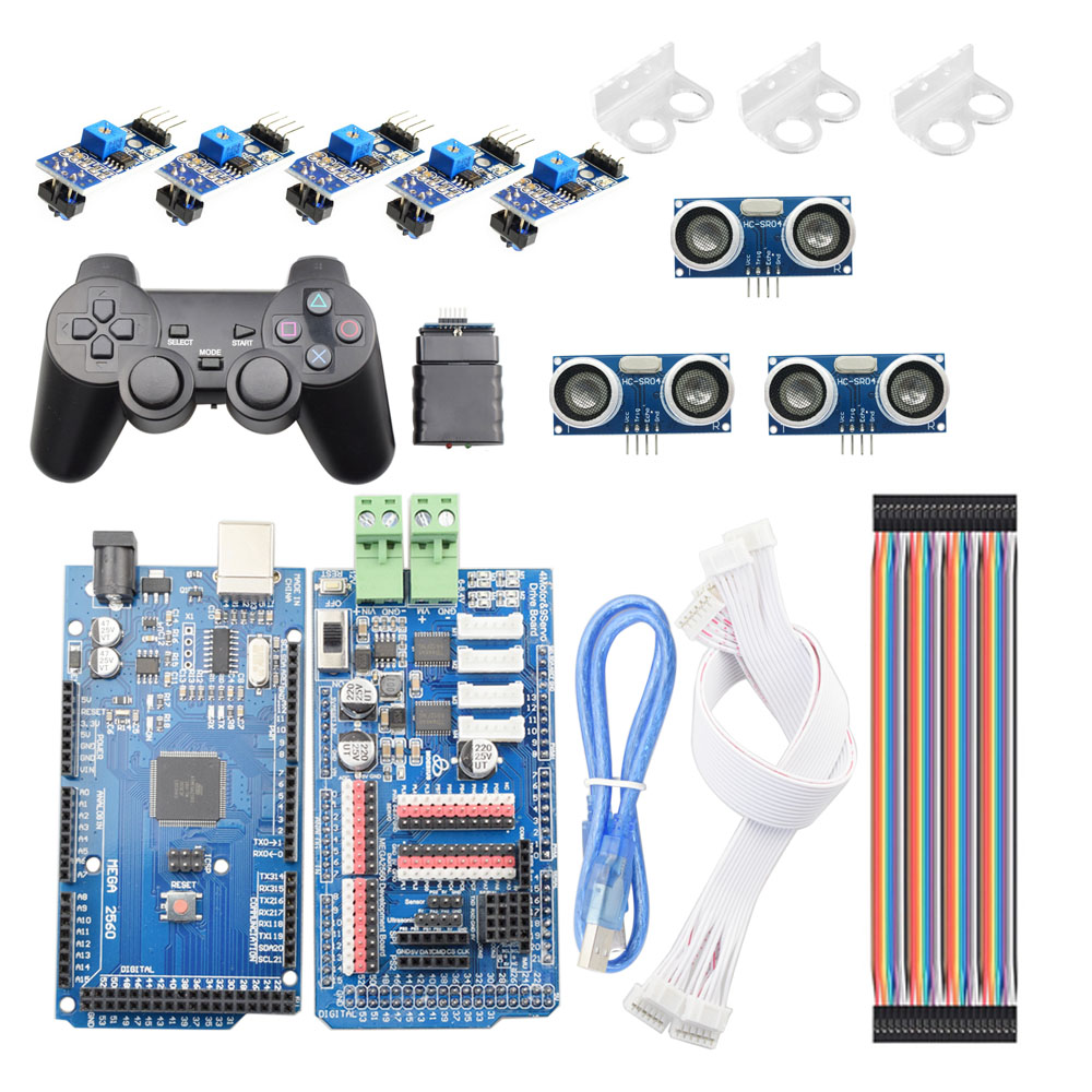 PS2 Wireless RC Arduino Smart Line-Tracking Obstacle Avoidance Mecanum Wheel Car Chassis Kit Line Patrol DIY Robot Parts Kit