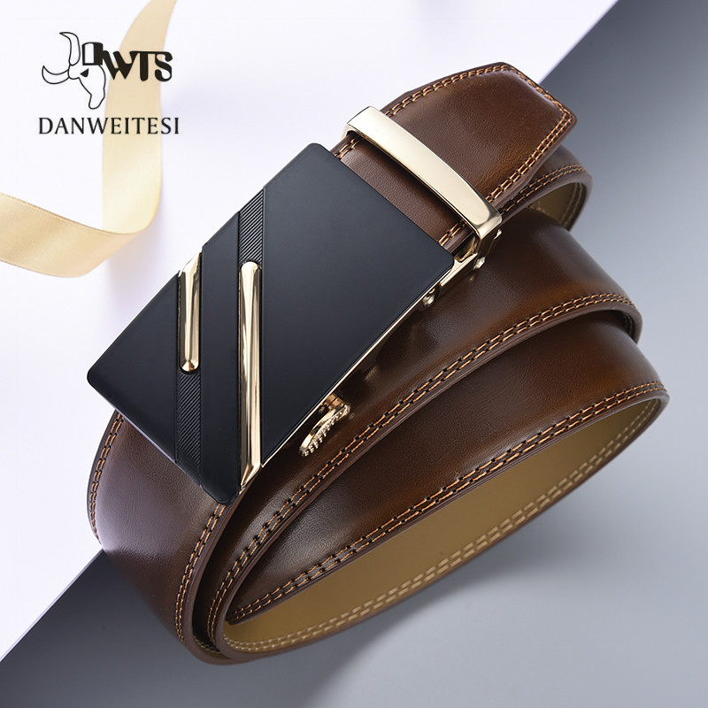 [DWTS]Belt Male Genuine Leather Strap Men Belt Designer Brand Automatic Buckle Belts For Men Belts Cummerbunds Cinturon Hombre