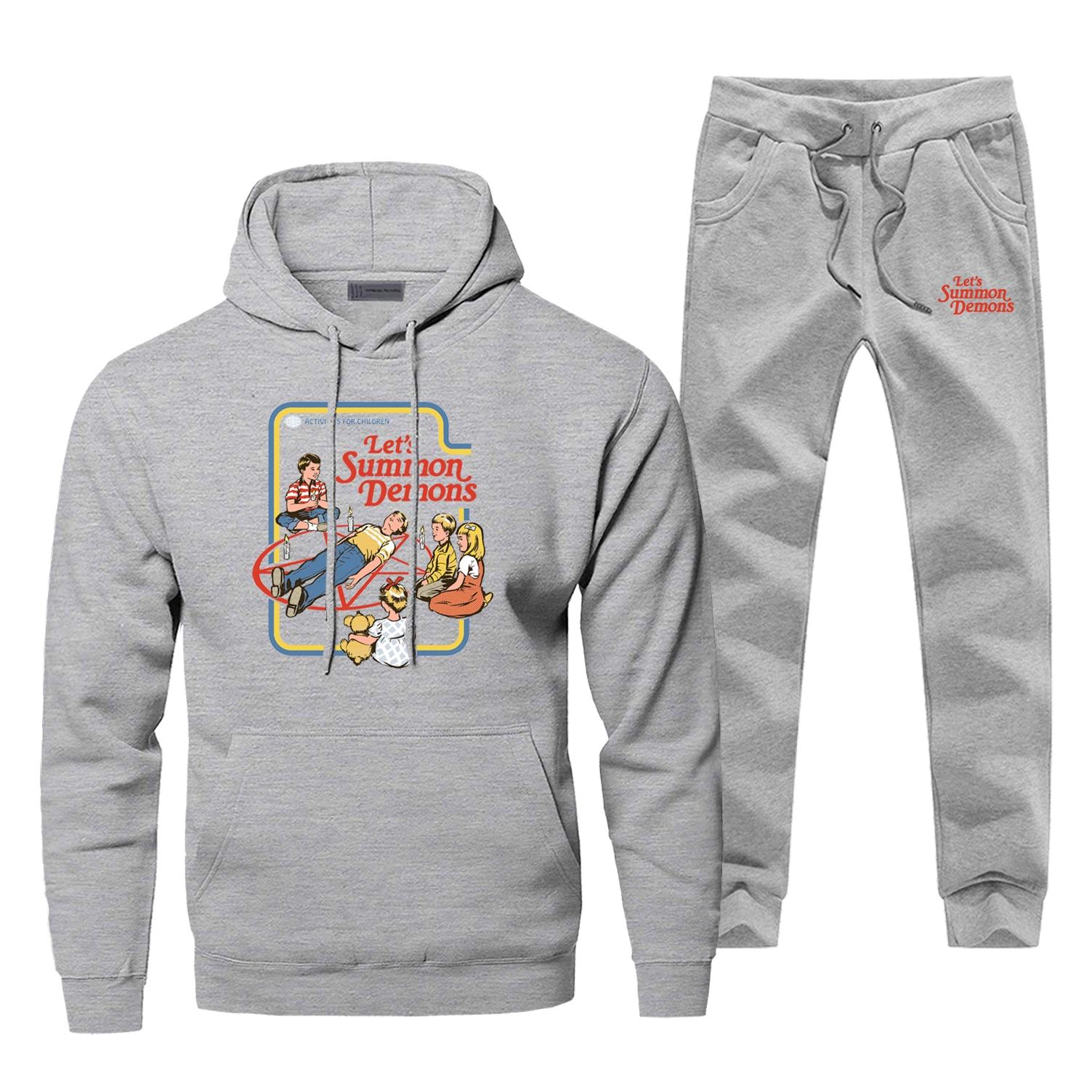 2019 New Men's Full Suit Tracksuit Let's Summon Demons Funny Print Comfortable Pants Sweatshirt Fleece Casual Sportsman Wear