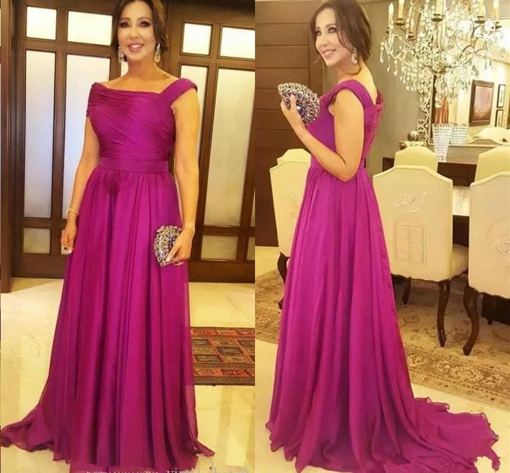 Fuchsia Elegant Mother Of The Bride Dresses Draped Floor Length Plus Women Evening Prom Party Dress Mother Wedding Guest Gowns