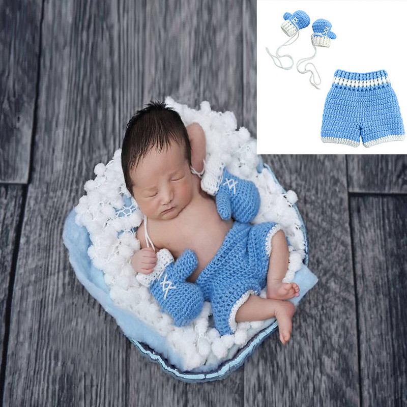 Baby Photography Props Newborn Costume Outfit Clothes Infant Girls Boys Pant Boxer Gloves Suit Knit Clothing Photo Shoot