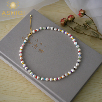 ASHIQI 7-8mm Natural Freshwater Baroque Pearl Necklace Fashion Colorful Beads Girl Gift with Gold-plated Buckle 1