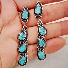 Classic Women Water Drops Earring Vintage Blue Color Turquoises Long Drop Bohemian Handmade Fashion Jewelry