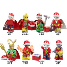 1 set di/Di Natale Babbo natale Darth Vader Flash Deadpool Batman Thor Thanos Avengers Building Blocks Giocattoli Per Bambini(China)