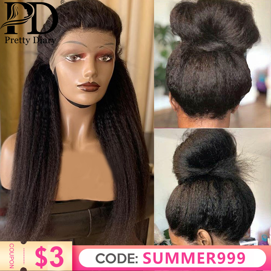 Kinky Straight 13x6 Lace Front Wigs For Women 360 Lace Frontal Wig Pre Plucked With Baby Hair Long Remy Yaki Human Hair Wigs
