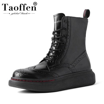 Taoffen Genuine Leather Women Ankle Boots New Arrival Flats Thick Sole Sexy Fashion Shoes Casual Warm Short Boots Size 35-40