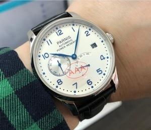 Image 2 - Safira cristal 43mm parnis branco dial reserva de energia automático auto vento movimento mecânico data automática relógio masculino pa010 20
