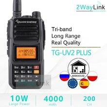 Atualização walkie talkie 10 km quansheng TG UV2 mais 10w de longa distância talkie walkie 10 km 4000mah rádio vhf uhf dupla banda longa espera