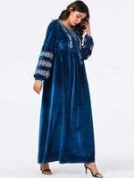 New Elegant Oman Muslim Hijab Dress For Lovers 9086 Big Arab Women's Embroidery Long Skirt