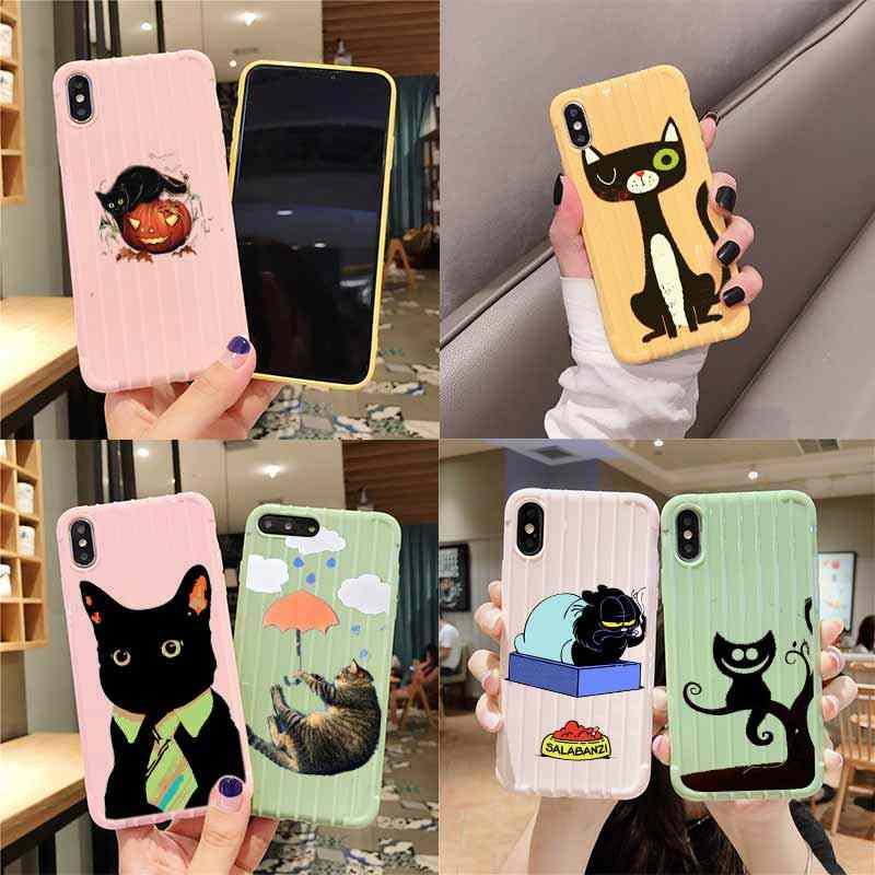 Fun Zwarte Kat Vallen Trolley Koffer Textuur Telefoon Case Iphone 11 Pro Max X Xs Max 8 7 6S Plus Leuke Candy Kleur Behuizing
