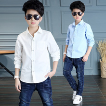 Kids Clothing Spring 2021 Long Sleeve Boys Shirts Fashion Cotton Solid White Shirt Children Turn-down Collar Button Tops 8 12y