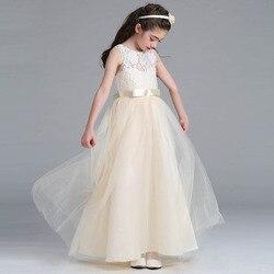 2019 Flores Elegantes Vestidos Da Menina Crianças Arco Rendas Traje Primeira Comunhão Pageant vestido de Baile Vestidos Vestidos De Comunion