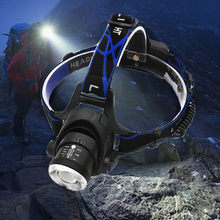 Powerful ZOOM LED Headlight headlamp Head Lamp 6000 lumens Flashlight Torch head light 18650 battery For Camping fishing(China)