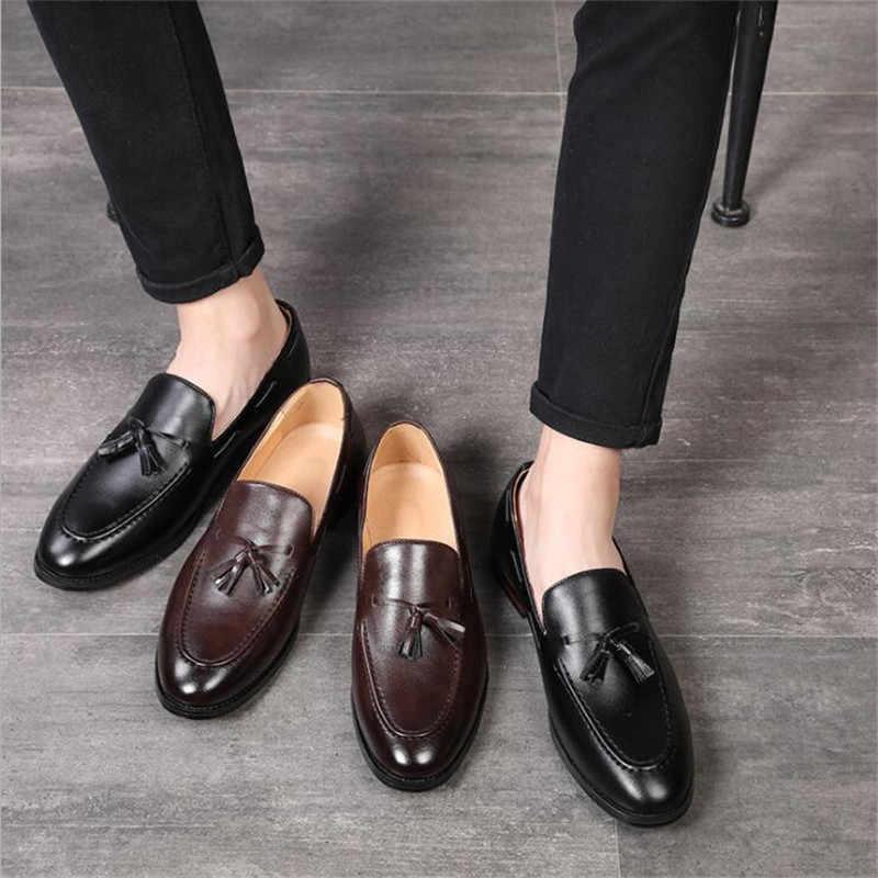 Handmade แฟชั่น Loafers สีดำด้านล่างหนังสุภาพบุรุษแฟชั่นรองเท้าผู้ชายขับรถรองเท้า