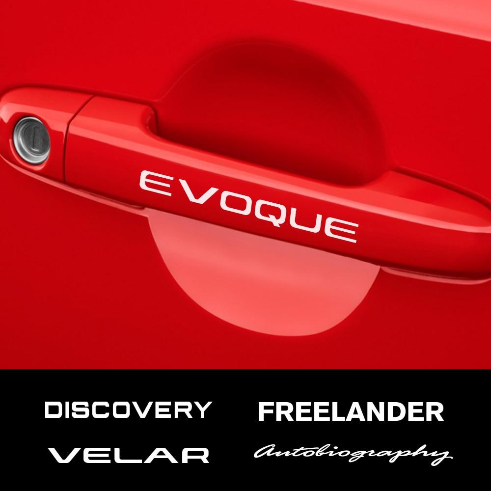 Pegatinas de manija de puerta de coche, accesorios para Land Rover Discovery 3 4 2 Freelander Evoque Velar, autogigrafía supercargada SVR, 4 Uds.