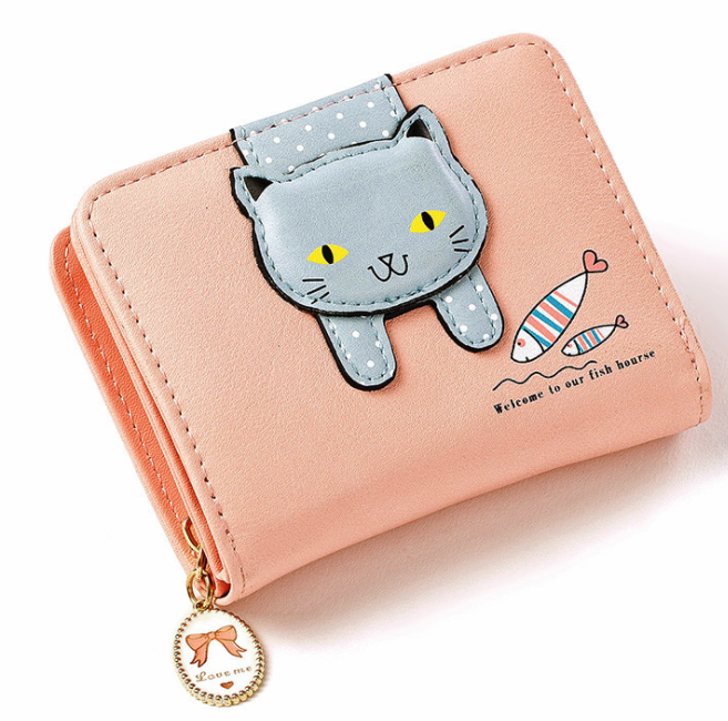 2020 Fashion Women Cute Cat Wallet Small Zipper Girl Designed Pu Leather Coin Purse Female Card Holder Wallet