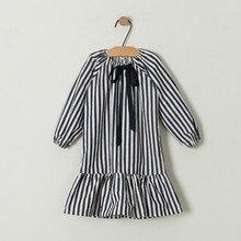 弓の女の子2020新ベビー春ドレス黒、白のストライプ子供王女の子供服幼児の綿の服、 #2265