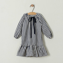 Bow Girls Dress 2020 New Baby Spring Dress Black White Stripe Kids Princess Children Clothes Toddler Cotton Clothes,#2265