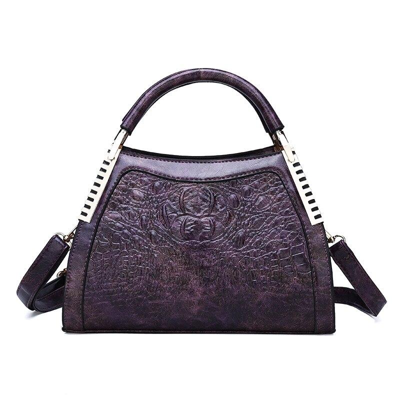 2019 New Luxury Vintage Women Handbags Crocodile Alligator Tote Purses Soft Brand Crossbody Bags Leather Women Shoulder Bag
