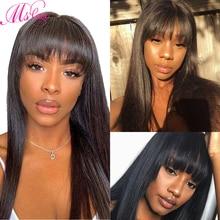 Proste włosy ludzkie peruki z grzywką dla czarnych kobiet brazylijski peruka Natural Color 18 Cal Ms miłość nie Remy