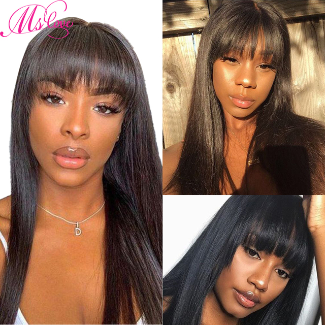 Straight Human Hair Wigs With Bangs For Black Women Brazilian Wig Natural Color 18 Inch Ms Love Non Remy