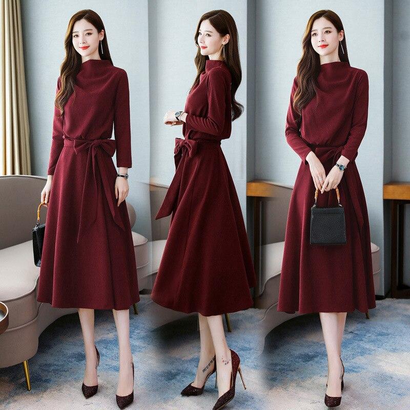 Fabricants vente directe 2019 automne nouveau Style SERQ1990 femmes style coréen élégant Style occidental robe de mode une génératio
