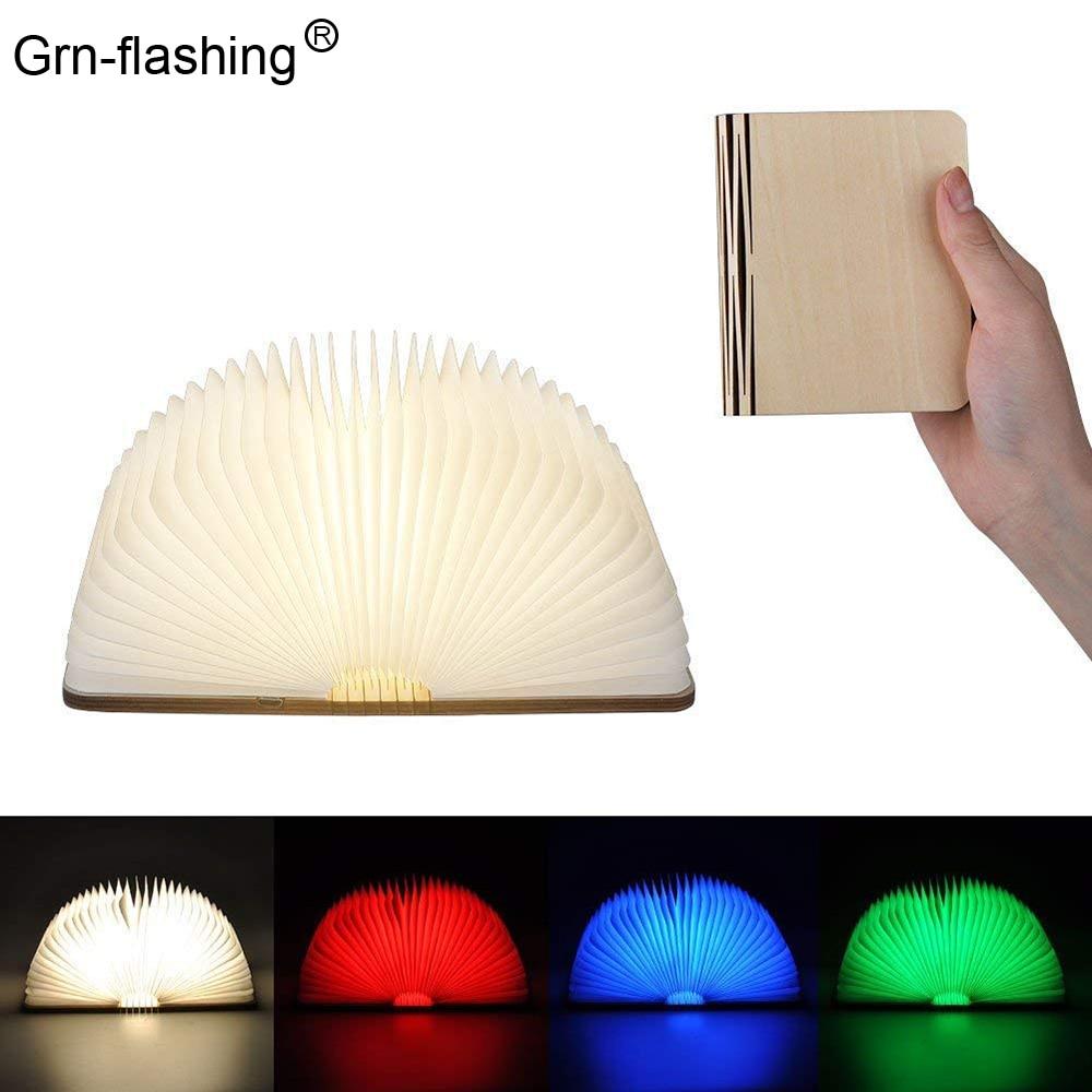 LED Klapp Buch Licht 5 farbe USB Aufladbare batterien Holz Kreative nachtlicht Hause Schreibtisch Dekoration Lampe kinder geschenk