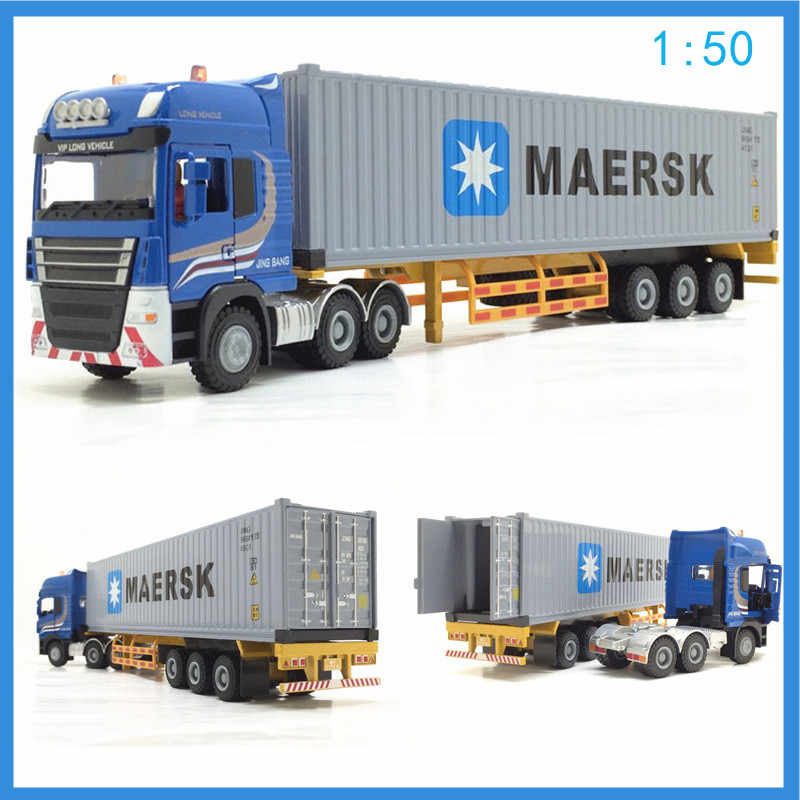 High simulation 1:50 alloy engineering vehicles toys Maersk semi-mounted container cargo truck model MSC kids cars toys cars