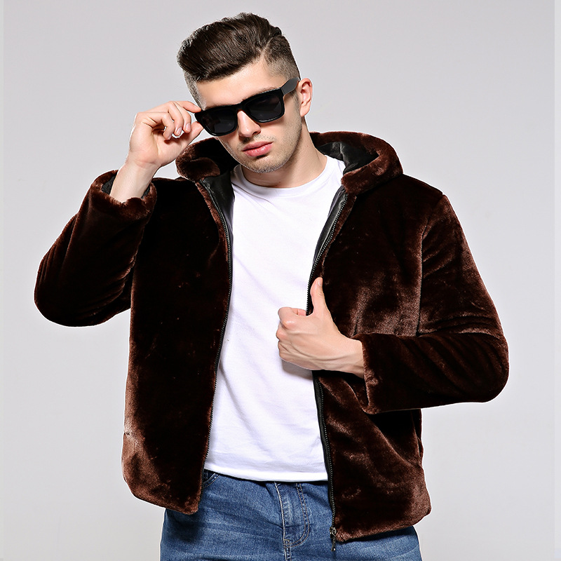 Новая мужская меховая куртка, Осень зима, Корейская версия, шапка из меха, утолщенная, большой размер, норка, мужской мех - 2