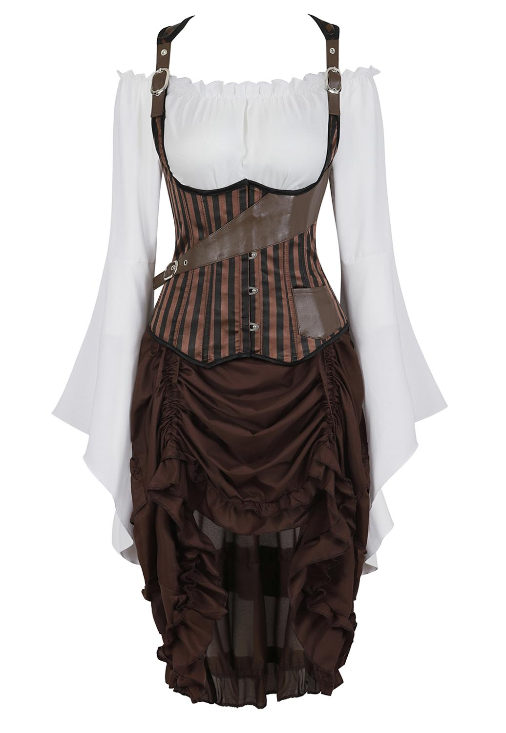 Grebrafan Tight Lace Vest Corset Striped with Pirate Skirt and Blouse 3 Piece Costume Steampunk