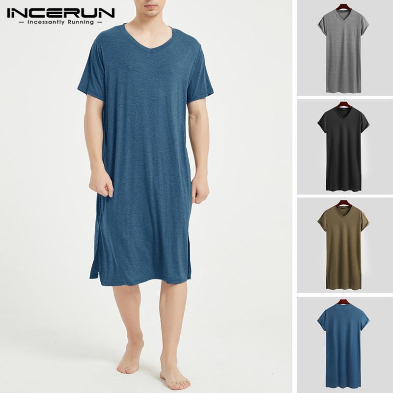 Men Sleep Robes Short Sleeve Solid Cotton 2021 V Neck Soft Bathrobes Leisure Comfortable Men Nightgown Homewear INCERUN S 3XL 7