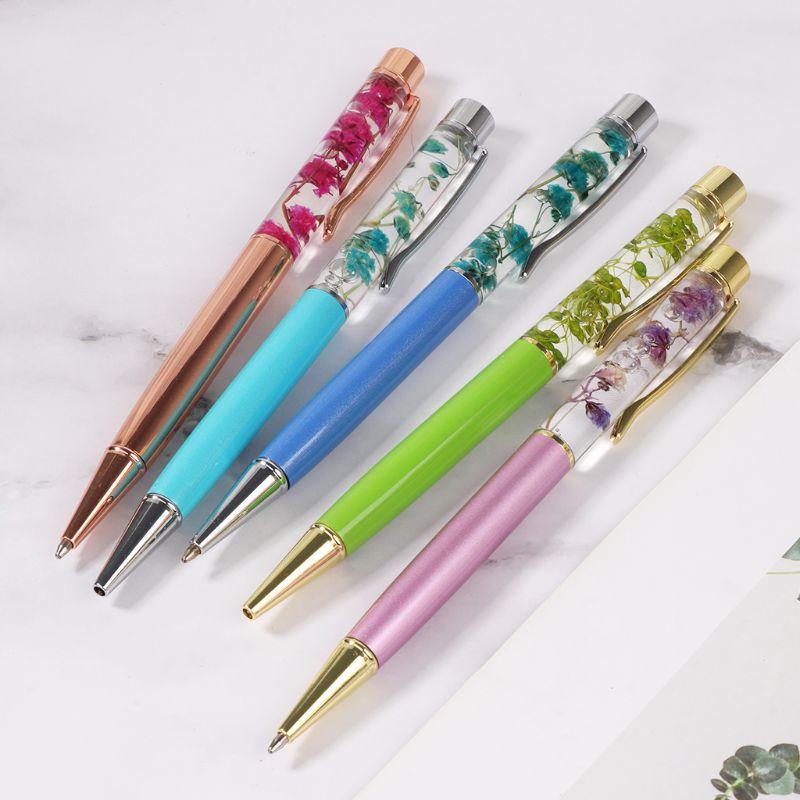 Купить с кэшбэком Luxury Metal Dry Flower Ballpoint Pen Signature Writing Pens Black Ink School Office Stationery Student Gift