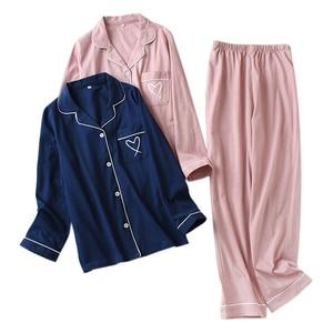 Image 1 - Nhật Bản trái tim ngọt ngào 100% Đan Cotton Bộ đồ ngủ bộ nữ thu đông nữ Casual đồ ngủ dài tay chất lượng pyjamas nữ