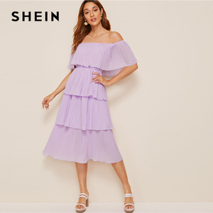 Image 3 - SHEIN Foldover Front Off Shoulder Layered Pleated Dress Solid Ruffle High Waist Women Dresses Glamorous Summer Dress