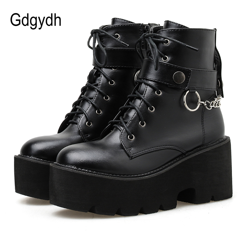 Gdgydh New Sexy Chain Women Leather Autumn Boots Block Heel Gothic Black Punk Style Platform Shoes Female Footwear High Quality