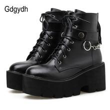 Gdgydh nowy seksowny łańcuch kobiety skórzane buty jesień blok obcas Gothic czarny Punk Style platformy buty obuwie damskie wysokiej jakości
