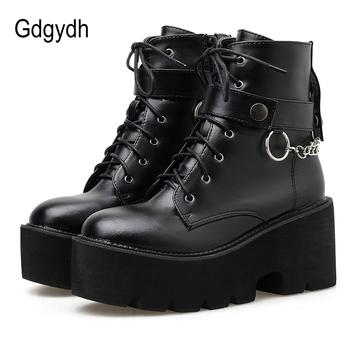 Gdgydh nowy seksowny łańcuch kobiety skórzane buty jesień blok obcas Gothic czarny Punk Style platformy buty obuwie damskie wysokiej jakości tanie i dobre opinie CN (pochodzenie) ANKLE Pasuje prawda na wymiar weź swój normalny rozmiar Okrągły nosek RUBBER Wiosna jesień Łańcuch