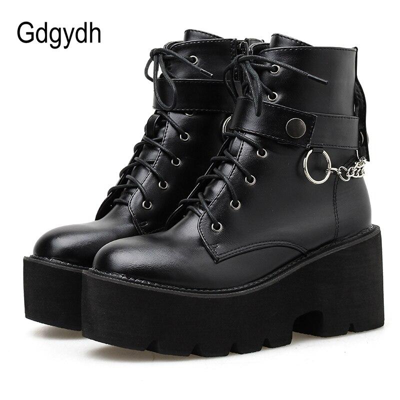 Gdgydh, nueva cadena Sexy de cuero para mujer, botas de otoño, tacón de bloque, zapatos de plataforma estilo gótico negro Punk, calzado femenino de alta calidad