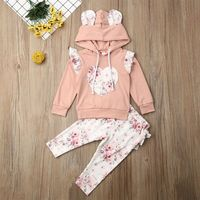 Baby Girl 3D Ear Hoodies Top Sweatshirt Ruffle Pants Clothes Outfit Set 2PCS
