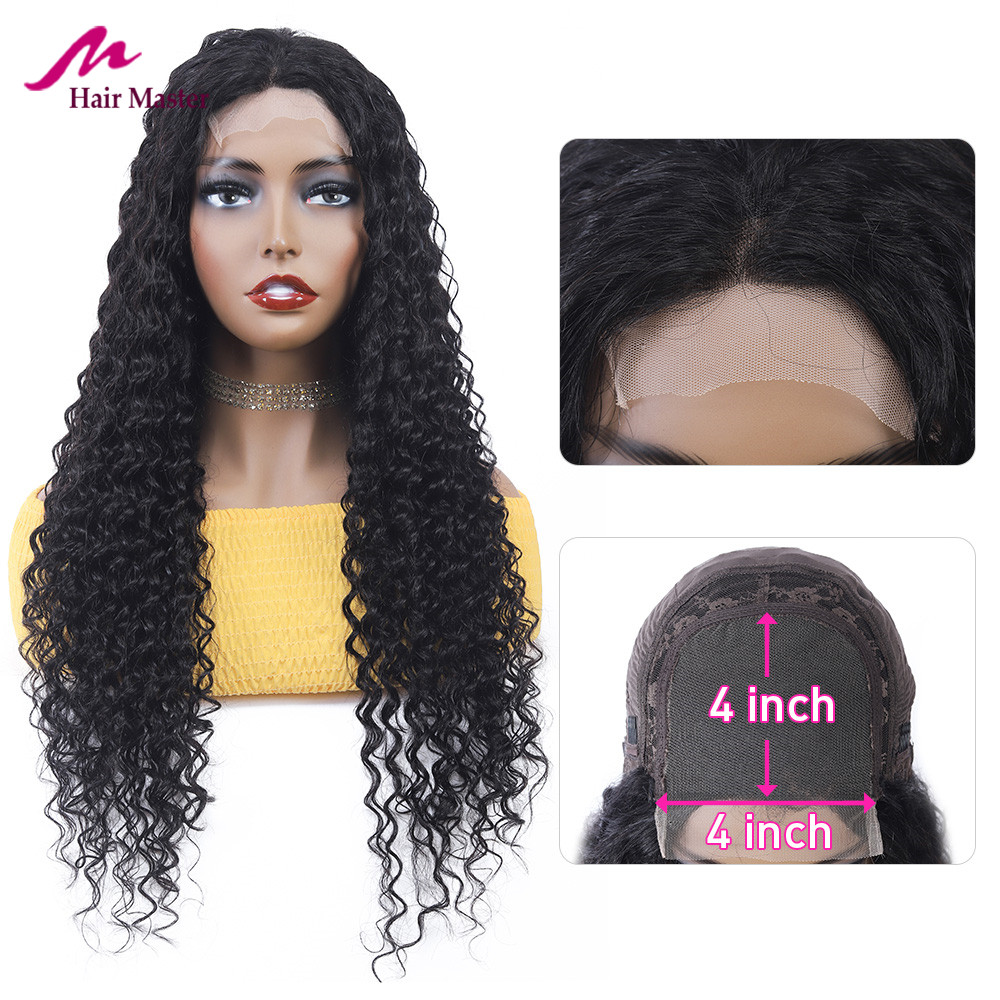 4*4 Lace Closure Wig Deep Wave Human Hair Wigs Peruvian Closure Wig With Baby Hair 150% Density Fast Shipping Remy Hair