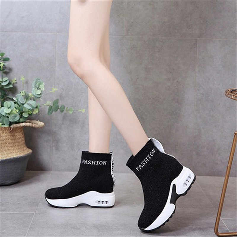 COOTELILI נשים מגפי פלטפורמת אופנה מגפי עקבים נשים נעליים יומיומיות קרסול מגפי אישה סניקרס 35-40