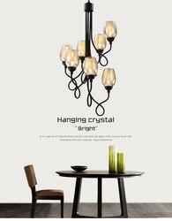 Nowoczesna prosta sztuka amerykańska czarna żelazna lampa wisząca szklany kubek na schody jadalnia pokój Bar oświetlenie wiszące E27 Ing wiszące Wiszące lampki Lampy i oświetlenie -