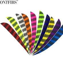 50pcs/lots 4 Water Drop Shape Hunting Arrow Feathers Striped Turkey Feather Archery Accessories Fletching FT52