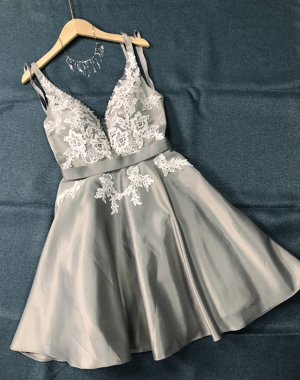 Real Picture Short   Prom     Dress   Lace Appliques V Neck Homecoming Party Gowns 2019 Forma Occasion   Dress   for Women A line Grey