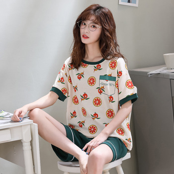 DOUCEUR Summer Fashion Women Pajamas Sets Short Sleeve and Pants Cotton O-Neck Print Cartoon Sleepwear Mujer Leisure Satin Femme wuhe women fashion o neck short sleeve long swing top and slim pants summer casual two pieces sets playsuits combinaison femme