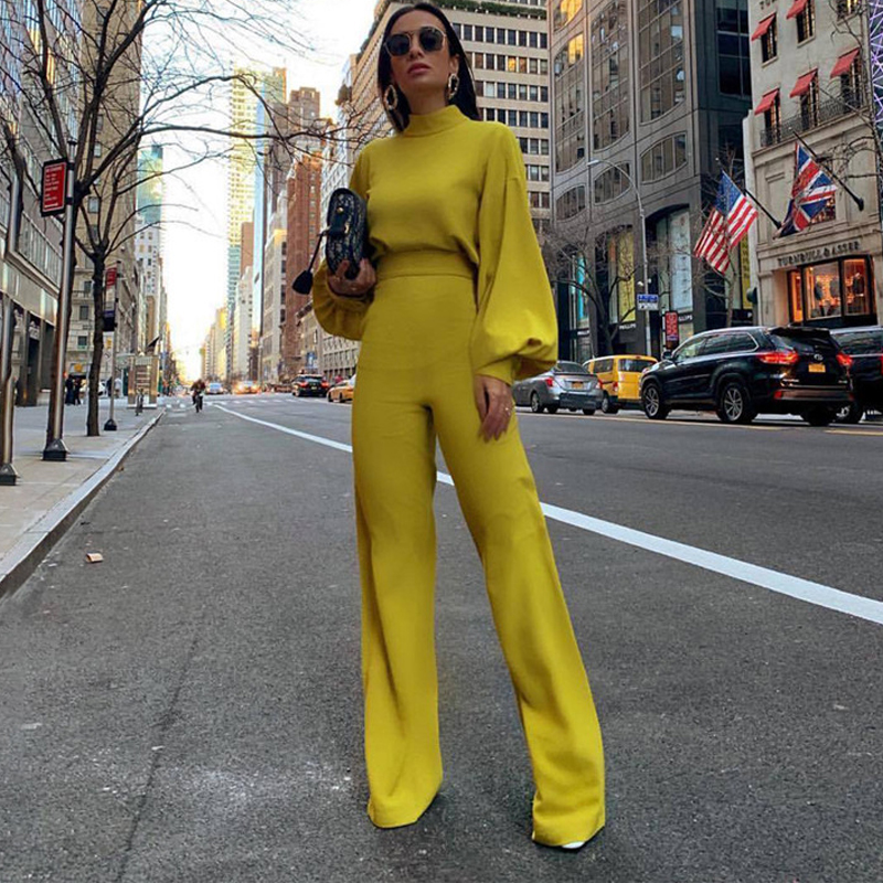 Casual Women's Jumpsuit Turtleneck Lantern Sleeve High Waist Slim Wide Leg Flare Pants Backless Button Elegant Jumpsuits Yellow