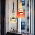 Современный Ресторан  домашний декор  подвесной светильник  скандинавский макарон  светодиодный  стеклянный  для кафе  подвесные светильни...