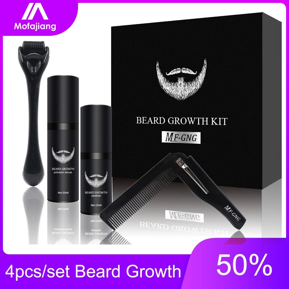 4 adet/takım dikenli sakal uzatma kiti saç büyüme arttırıcı seti Essentital yağı yüz sakal bakım fırçası seti ürün için en iyi hediye erkekler