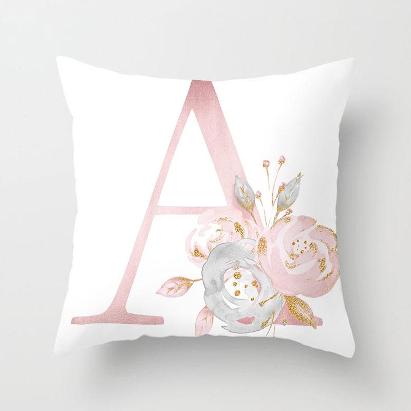 26 Alphabet Inisial Sarung Bantal Bunga Mawar Merah Muda Dengan Huruf Bahasa Inggris Rumah Cinta Bantal Penutup Sofa Dekorasi Cushion Cover Aliexpress